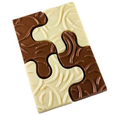 Puzzel chocolade gemixt