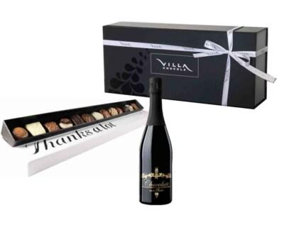 Cadeaubox chocolade wijn met chocola